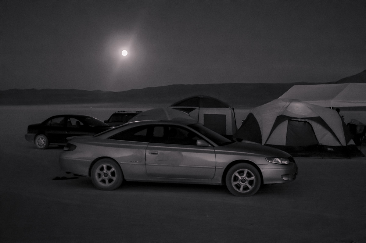 Moonrise Over Mid-Sized Sedan